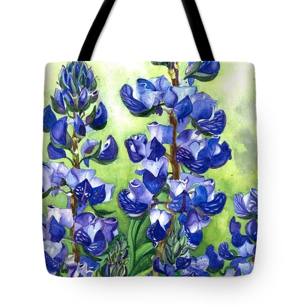 Tote Bag featuring the painting Mountain Blues Lupine Study by Barbara Jewell