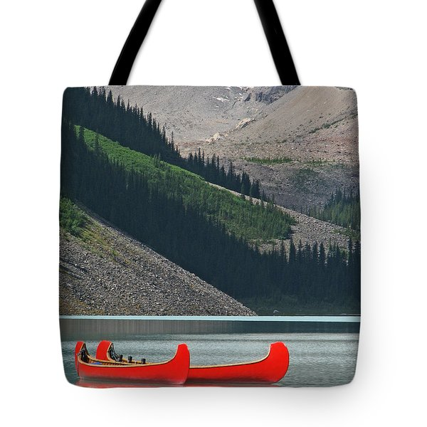 Mountain Canoes Tote Bag by Marcia Socolik
