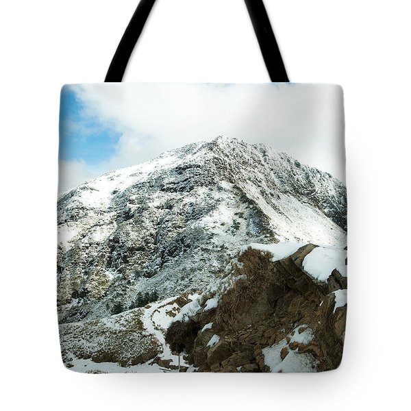 Mountain Covered With Snow Tote Bag