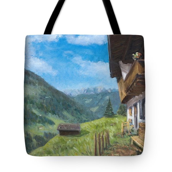 Mountain Farm In Austria Tote Bag by Marco Busoni