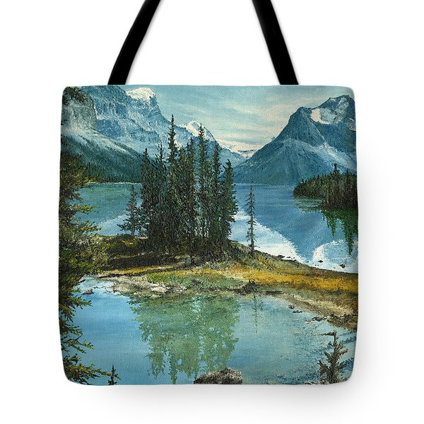 Tote Bag featuring the painting Mountain Island Sanctuary by Mary Ellen Anderson
