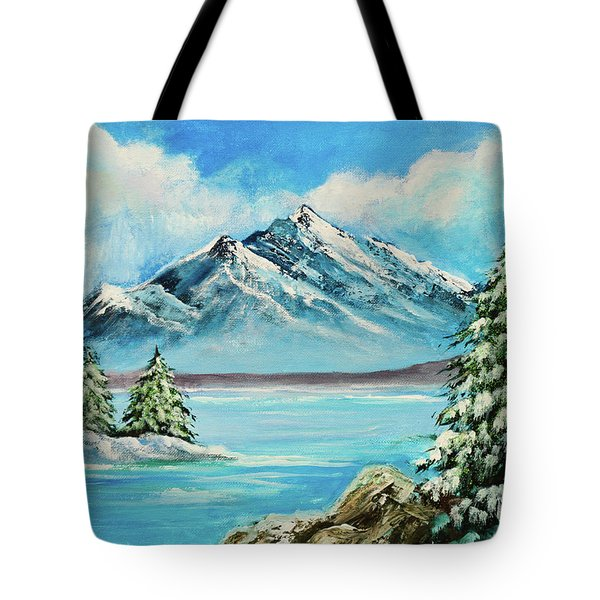 Tote Bag featuring the painting Mountain Lake In Winter Original Painting Forsale by Bob and Nadine Johnston