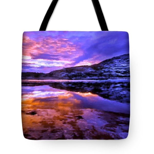 Tote Bag featuring the painting Mountain Lake Sunset by Bruce Nutting