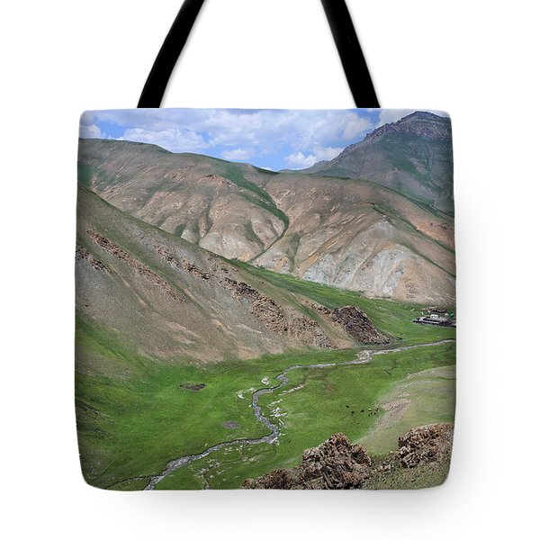 Mountain Landscape In The Tash Rabat Valley Of Kyrgyzstan Tote Bag by Robert Preston