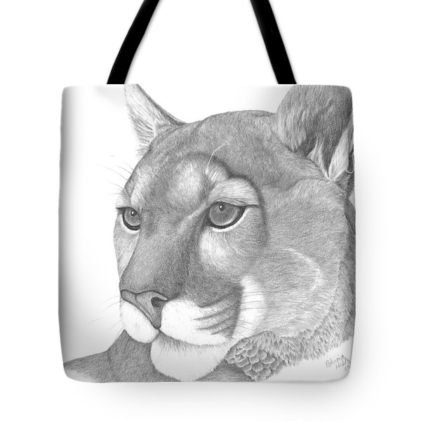 Tote Bag featuring the drawing Mountain Lion by Patricia Hiltz