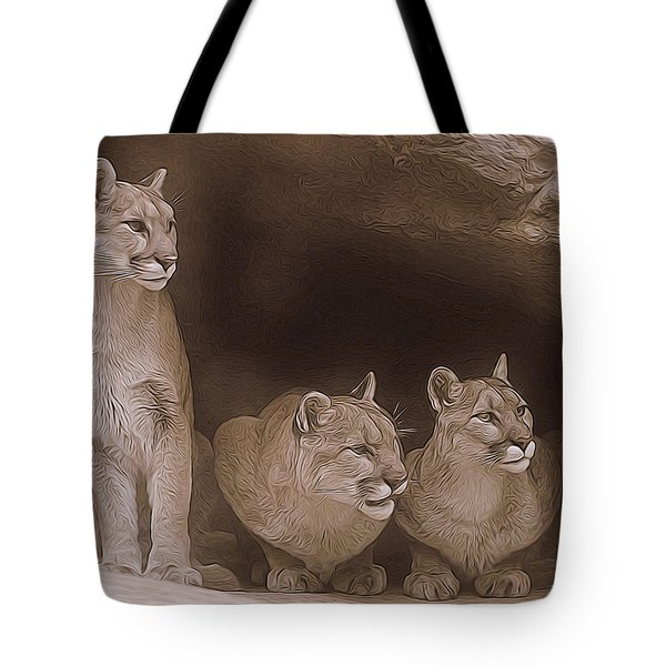 Mountain Lion Trio On Alert Tote Bag