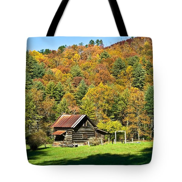Tote Bag featuring the photograph Mountain Log Home In Autumn by Susan Leggett