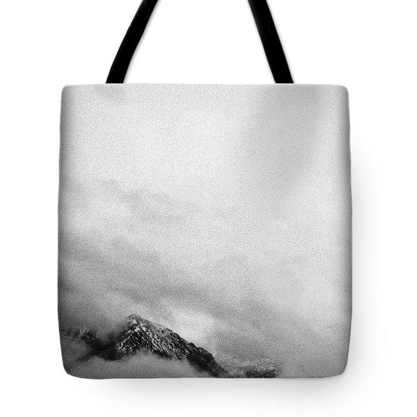 Mountain Peak In Clouds Tote Bag