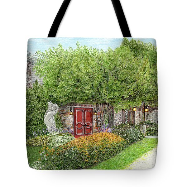 Tote Bag featuring the painting Mountain Playhouse Jennerstown Pa by Albert Puskaric
