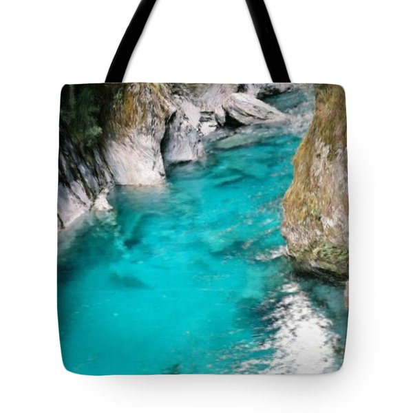 Tote Bag featuring the painting Mountain Pool by Bruce Nutting