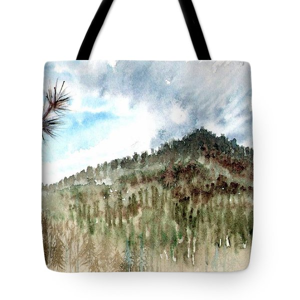 Tote Bag featuring the painting Mountain Rain by Ashley Kujan