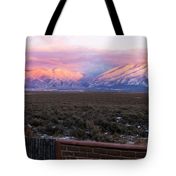 Mountain Range Viewed From A Adobe Tote Bag