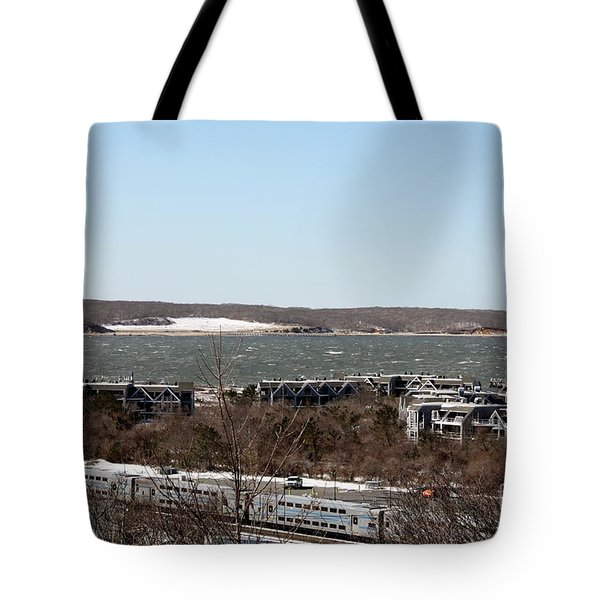 Mountain Side View Of Gardiner's Bay Tote Bag by John Telfer