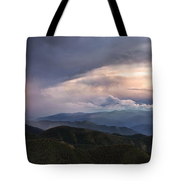 Mountain Storm And Rainbow Tote Bag by Leland D Howard