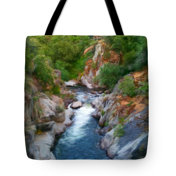 Tote Bag featuring the painting Mountain Stream by Bruce Nutting