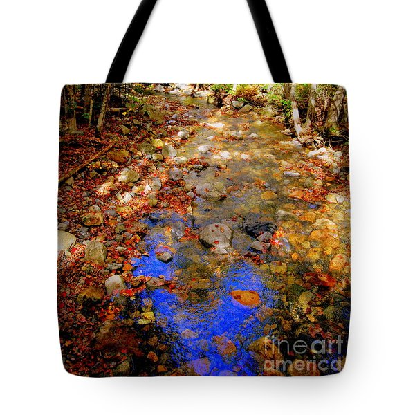Mountain Stream Covered With Fall Leaves Tote Bag by Eunice Miller