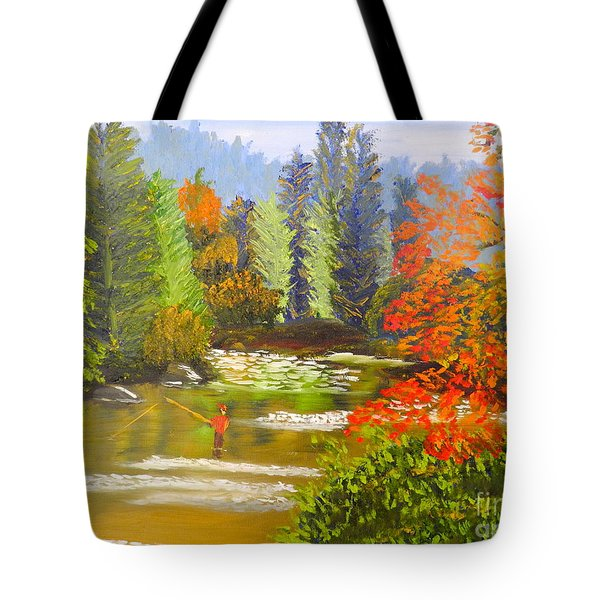 Tote Bag featuring the painting Mountain Stream by Pamela  Meredith