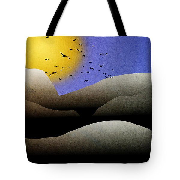 Mountain Sunset Landscape Art Tote Bag by Christina Rollo