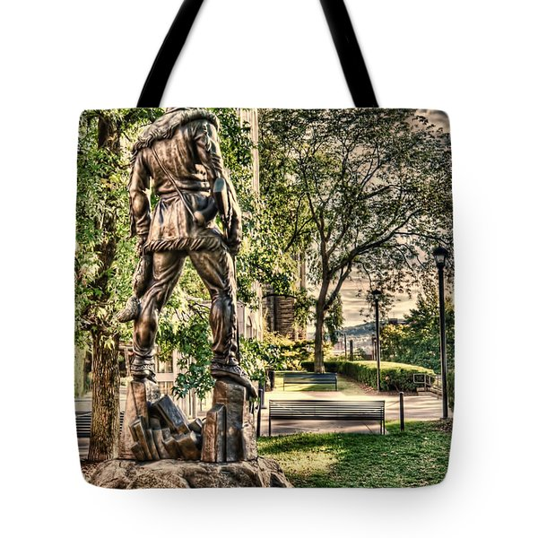 Mountaineer Statue At Lair Tote Bag by Dan Friend