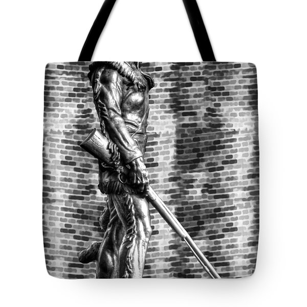 Mountaineer Statue With Black And White Brick Background Tote Bag by Dan Friend