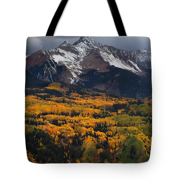 Mountainous Storm Tote Bag by Darren  White