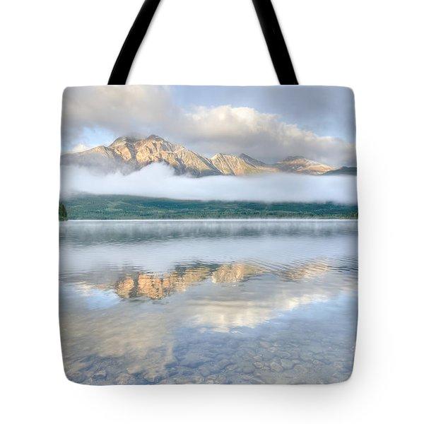 Mountains And Fog Tote Bag by Wanda Krack