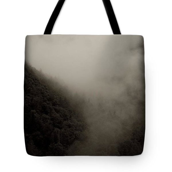 Mountains And Mist Tote Bag by Shane Holsclaw