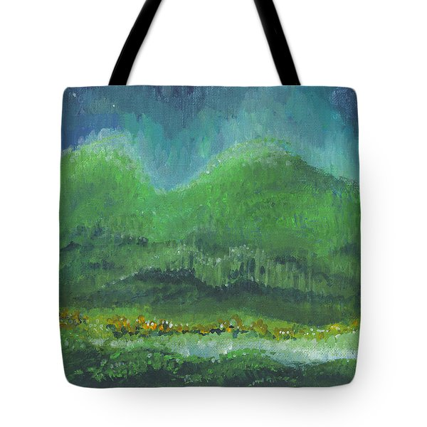 Tote Bag featuring the painting Mountains At Night by Holly Carmichael