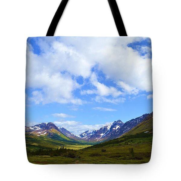 Mountains In Anchorage Alaska Tote Bag by Dacia Doroff
