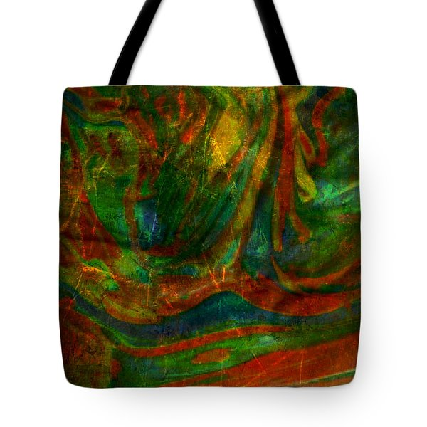 Tote Bag featuring the mixed media Mountains In The Rain by Ally  White