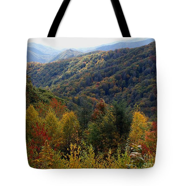 Mountains Leaves Tote Bag
