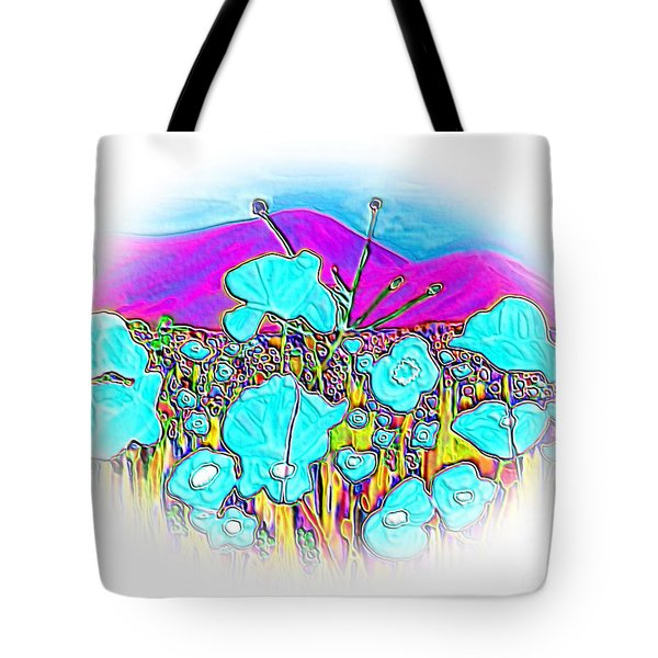 Tote Bag featuring the digital art Mountains View by Oksana Semenchenko