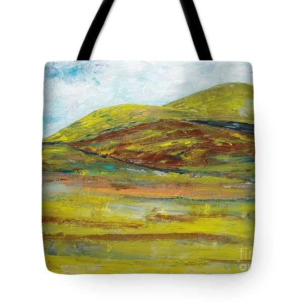 Tote Bag featuring the painting Mountains  by Reina Resto