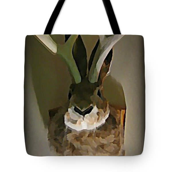 Mounted Jackalope From Vegas Tote Bag by John Malone