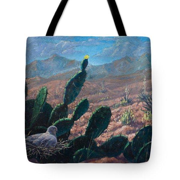 Tote Bag featuring the painting Mourning Dove Desert Sands by Rob Corsetti