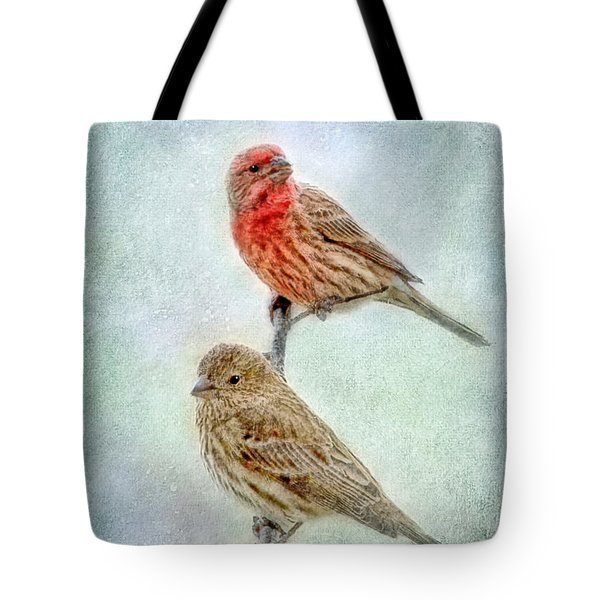 Mr And Mrs House Finch Digital Paint Tote Bag by Debbie Portwood