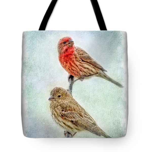 Mr And Mrs House Finch Digital Paint With Frame Tote Bag by Debbie Portwood