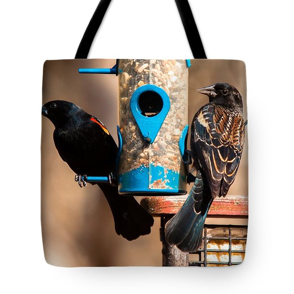 Mr. And Mrs. Red Winged Blackbird Tote Bag by Robert L Jackson