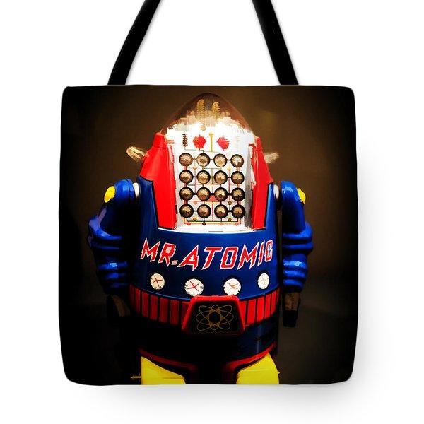 Mr. Atomic Tin Robot Tote Bag by Edward Fielding