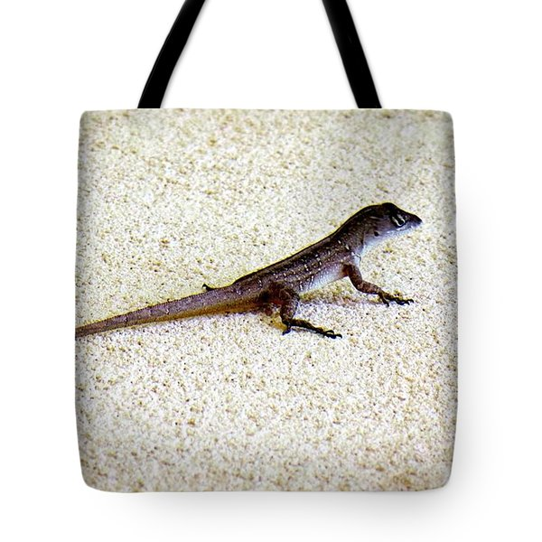 Tote Bag featuring the photograph Mr. Gecko by Pennie  McCracken