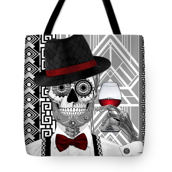 Mr. J.d. Vanderbone - Day Of The Dead 1920's Sugar Skull - Copyrighted Tote Bag by Christopher Beikmann