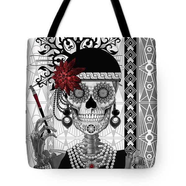 Mrs. Gloria Vanderbone - Day Of The Dead 1920's Flapper Girl Sugar Skull - Copyrighted Tote Bag