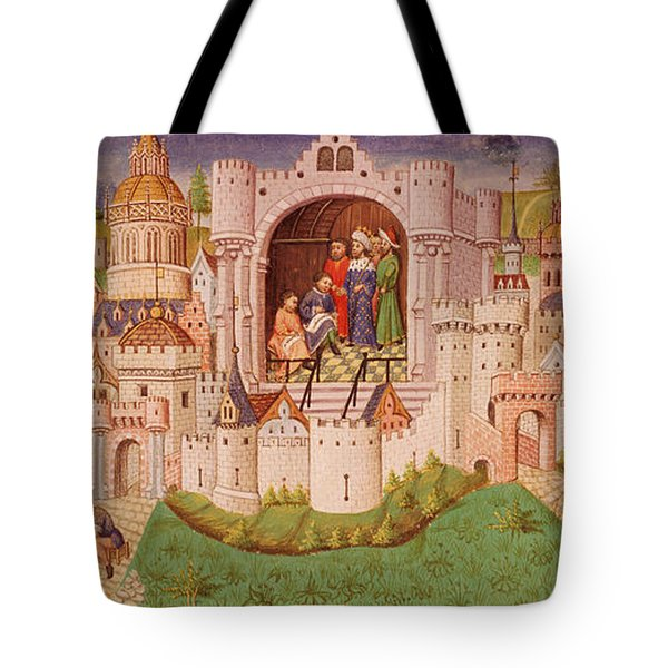 View Of A City With Laborers Paving Roads Leading Up To The City Gates With Cobbles Tote Bag
