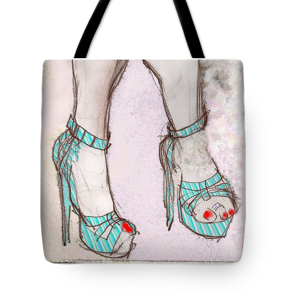 Tote Bag featuring the mixed media Ms. Cindy's Blue Shoes - Throw Pillow by Carolyn Weltman