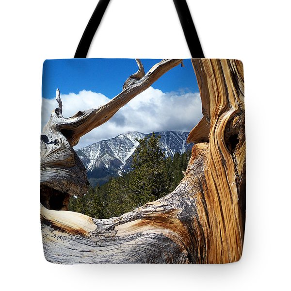 Mt. Charleston Thru A Tree Tote Bag by Alan Socolik