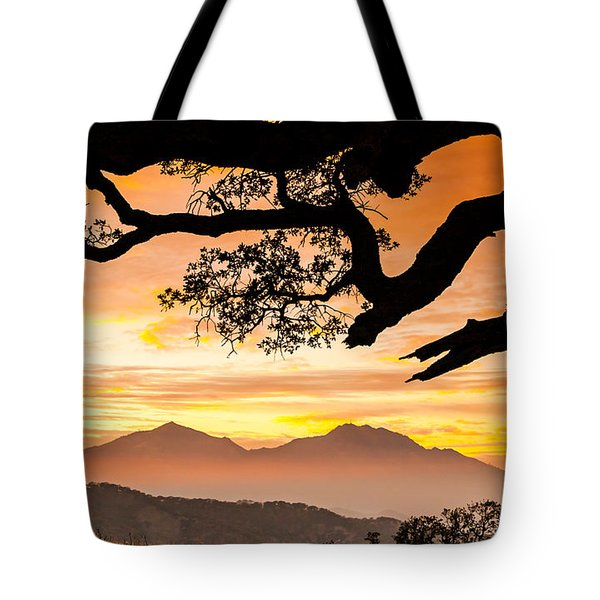 Mt Diablo Framed By An Oak Tree Tote Bag by Marc Crumpler