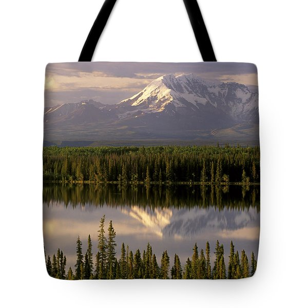 Mt Drum Over Willow Lake Wrangell-st Tote Bag by Calvin Hall
