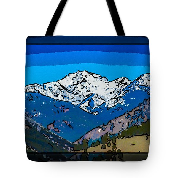 Mt Gardner In The Spring Abstract Painting  Tote Bag