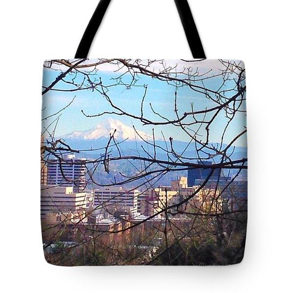 Mt Hood And Downtown Portland Tote Bag