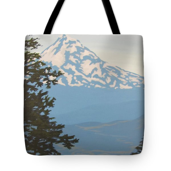 Tote Bag featuring the painting Mt Hood by Karen Ilari
